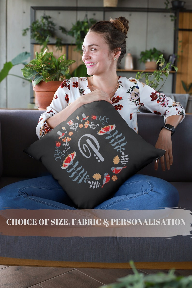 Round wreath monogram pillow Boho housewarming gift image 0