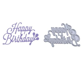 Happy Birthday Metal Cutting Dies, sentiment Metal die cuts for Card making, Sizzix dies,