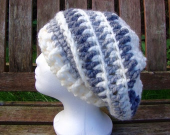 566aa80f1fc Crochet Slouchy Beanie hat hippy festival hat Crochet beanie slouch hat  Cream with dark light grey colour stripes in adult size