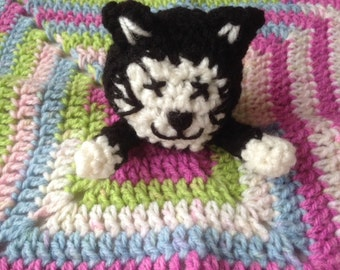 "Crochet Cat Lovey, Crochet Security blanket,  Crochet Comforter, Lovey Blanket, cat amigurumi, kitty afghan - 14"" x 14"" - ready to go!"