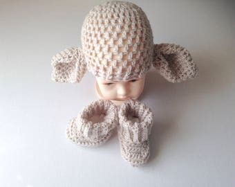Crochet big ears, dobby hat and booties, hat and boot set, crochet beanie, novelty baby hat, handmade, baby shower, photo prop, fancy dress