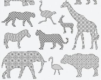 Blackwork Design 'African Animals'