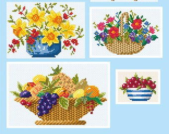 Bowls and Baskets of Flowers and Fruit