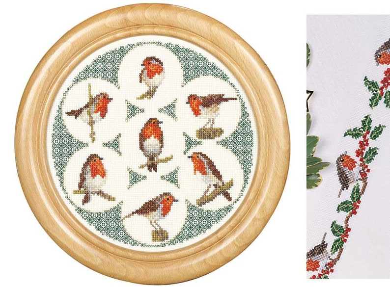 Cross Stitch 'Round Robins' and Robins and Holly image 0
