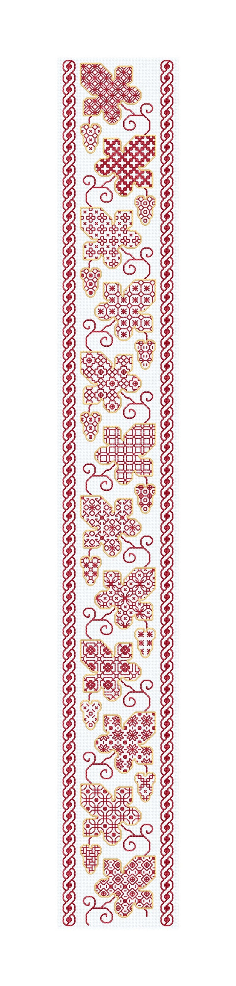 Blackwork Bell Pull in Red and Gold image 0