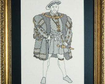 Blackwork depiction of Henry VIII.