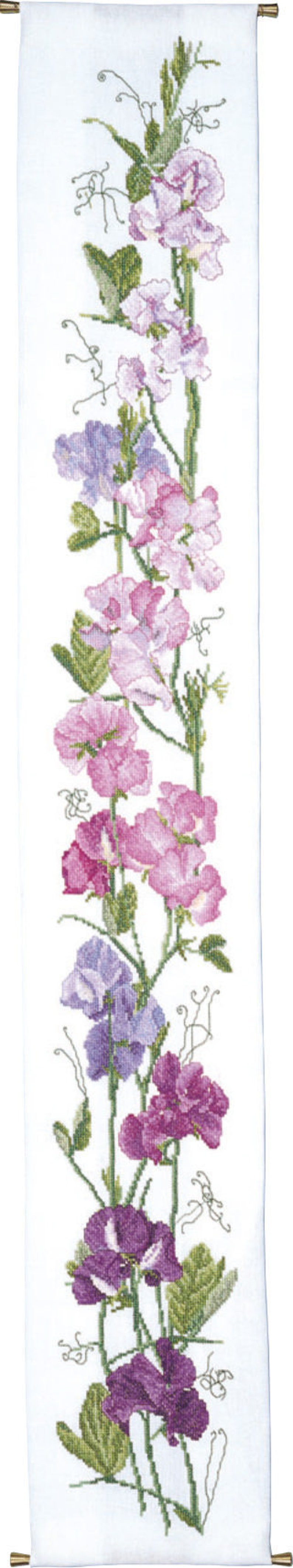Cross Stitch Sweet Pea Bell Pull image 0