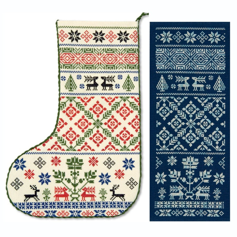 Cross stitch 'Yuletide Reindeer' Christmas Stocking image 0