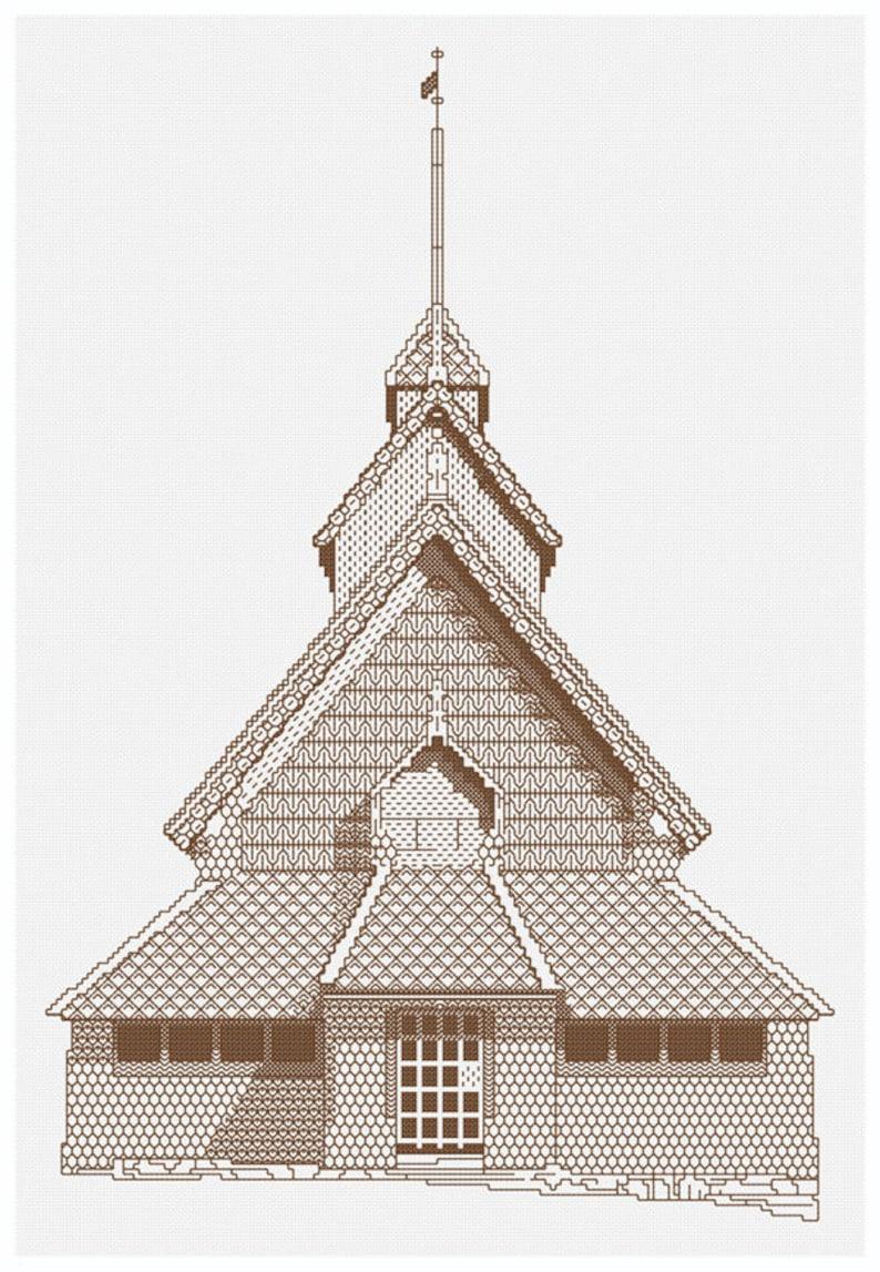 Blackwork Norwegian Stave Church image 0