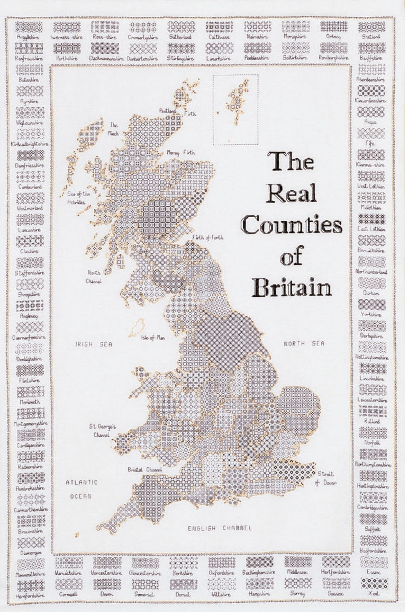 Blackwork Design 'the Real Counties of Britain'. image 0