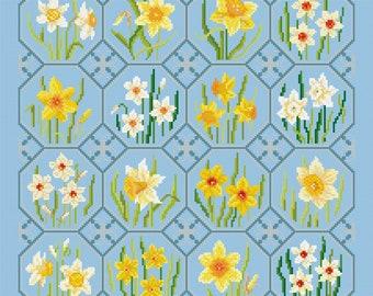 Cross Stitch design 'Golden Daffodils'.