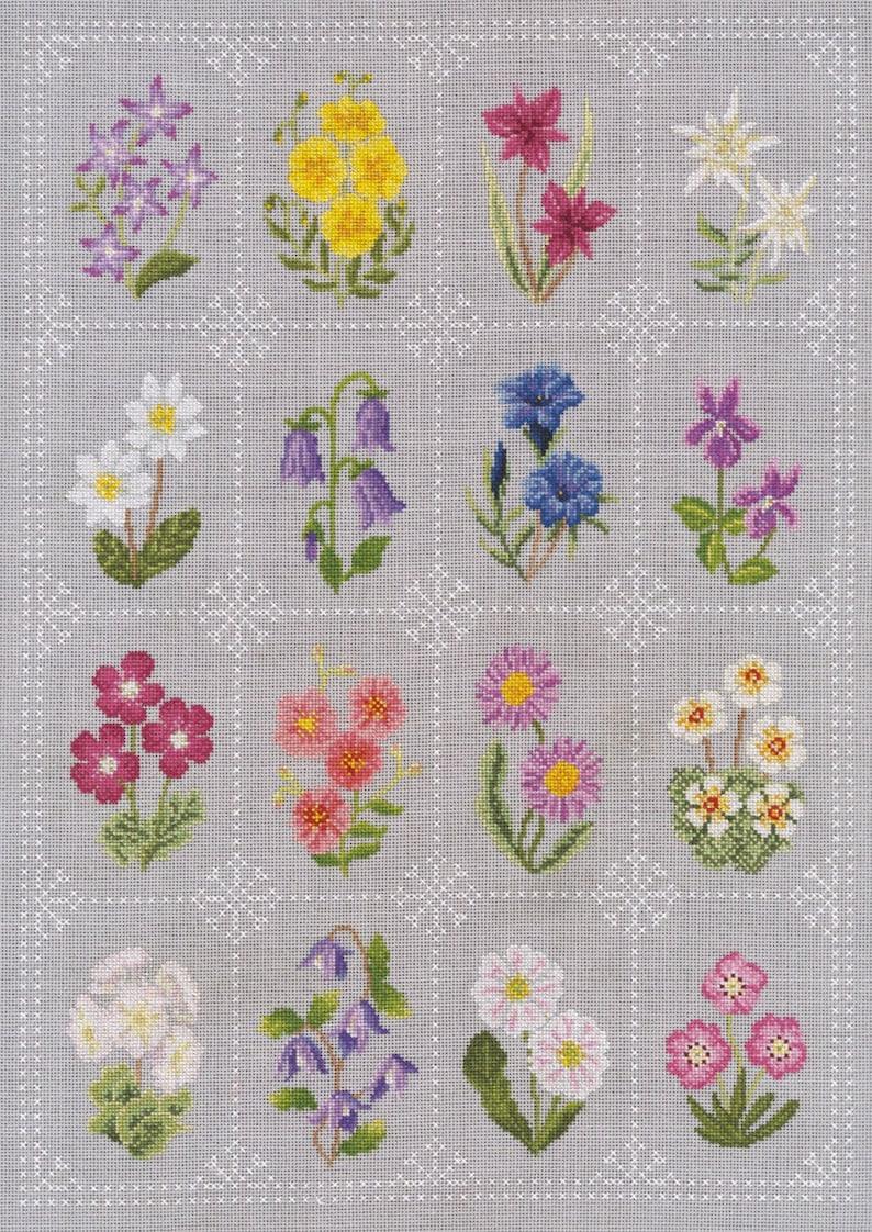 Cross Stitch Alpine Flower Sampler image 0