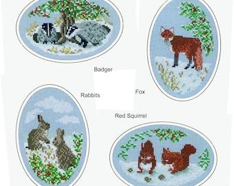 Winter Wildlife Cross Stitch Design