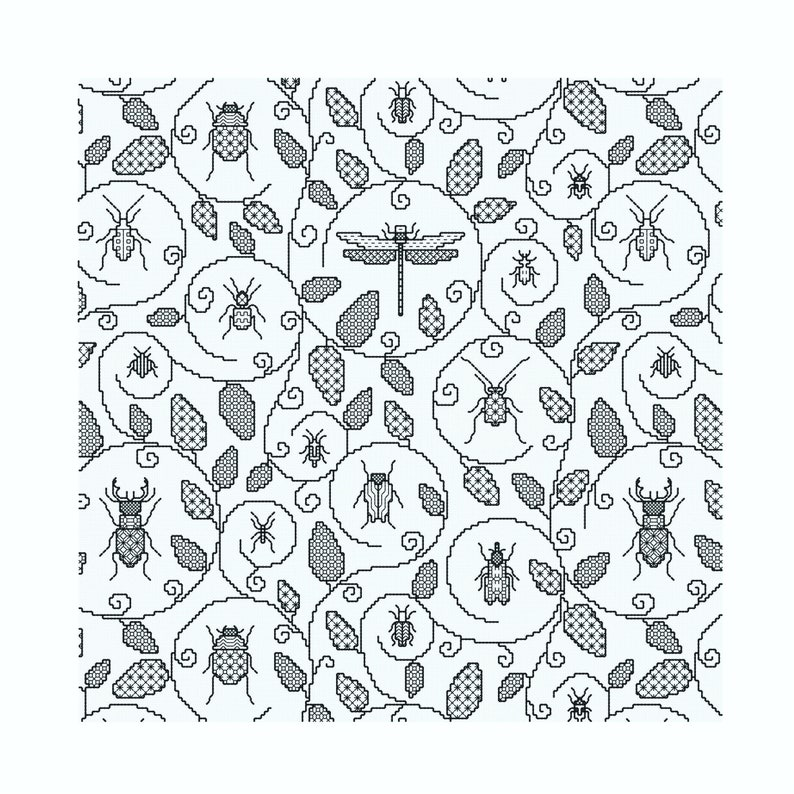 Blackwork Download ' Bugs Cushion all over pattern' image 0