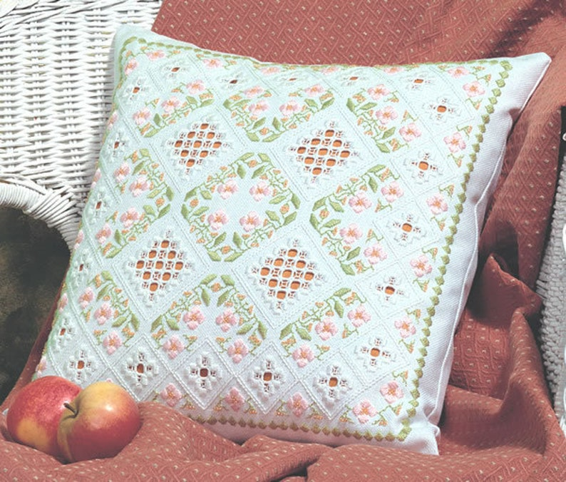 Delicate Dreams Hardanger and Satin Stitch Cushion Download image 0
