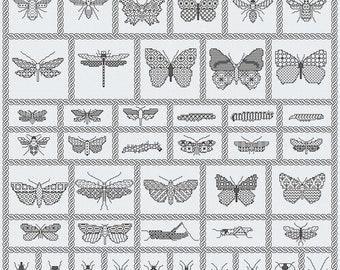 Blackwork Chart Download ' Bugs Sampler'