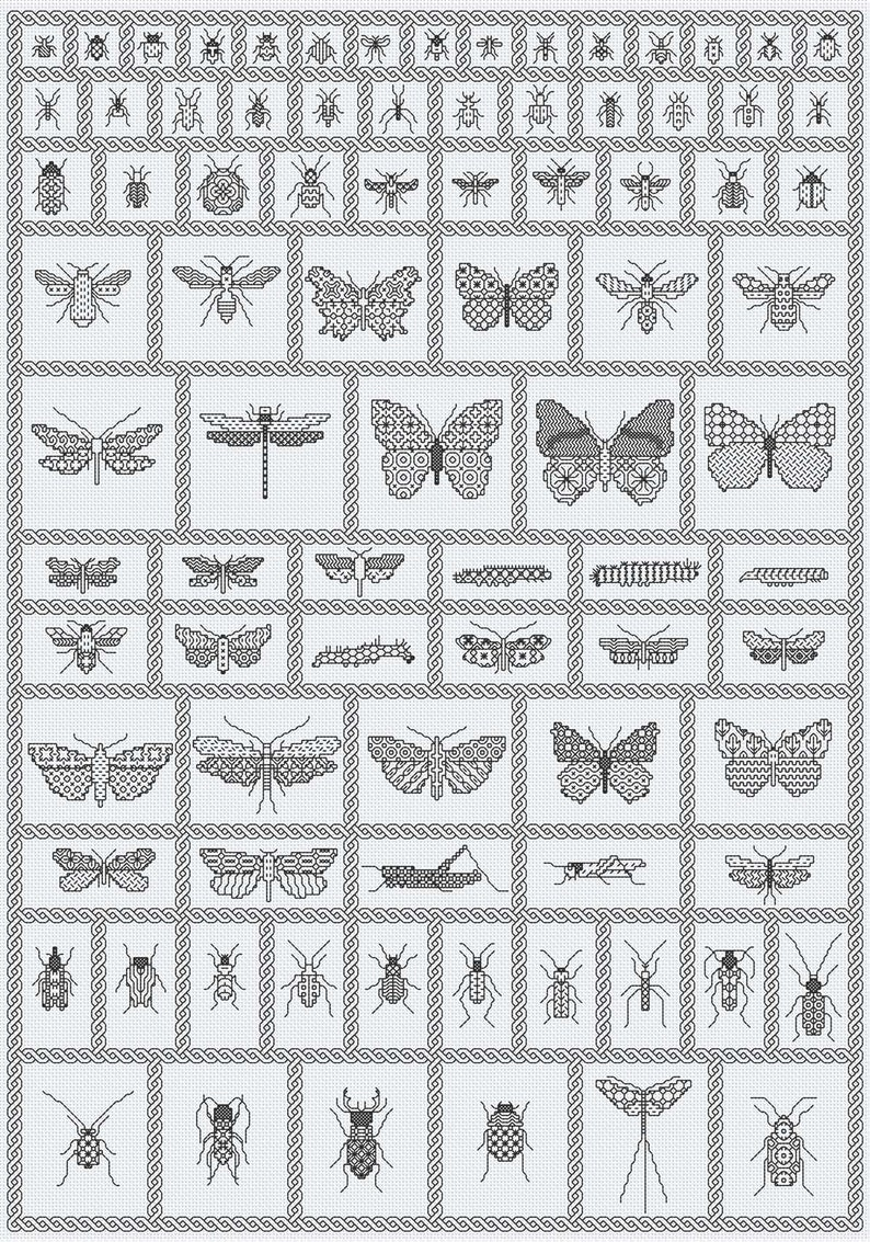 Blackwork Chart Download ' Bugs Sampler' image 0