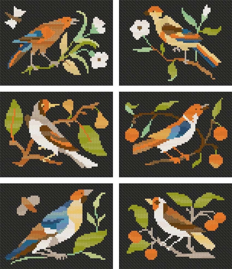 Download Cross Stitch Birds in the style of Pietre Dure image 0