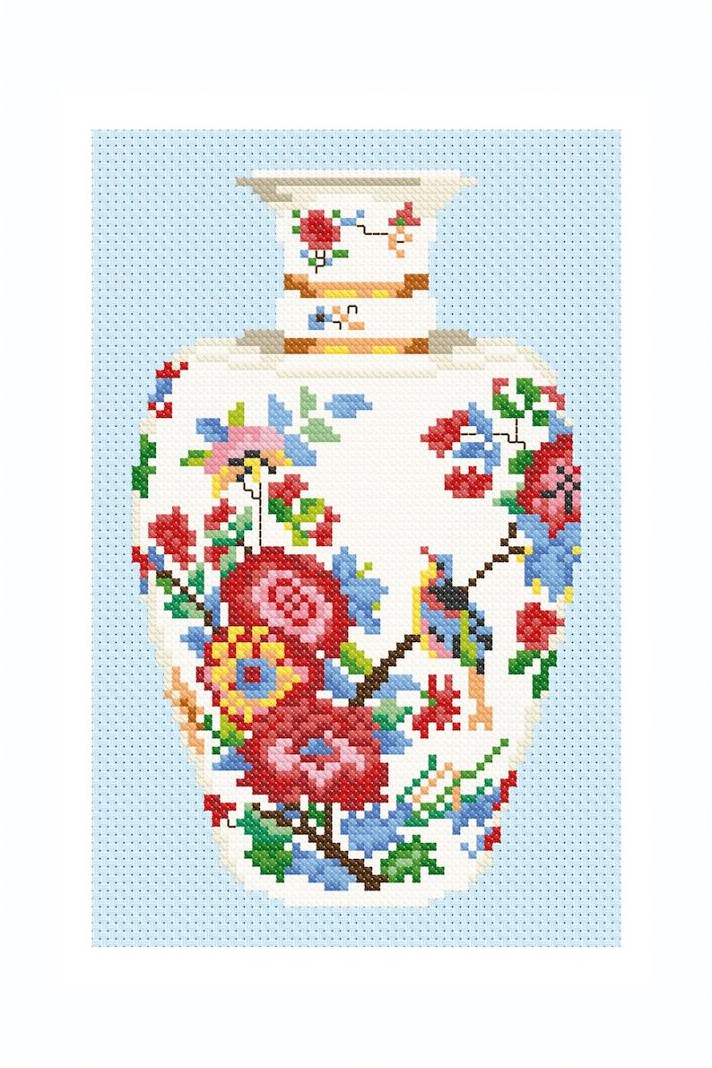 Meissen Vase in Cross Stitch image 0