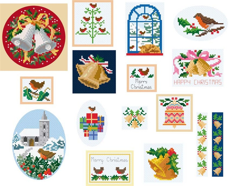 Cross Stitch 'Christmas Bells and Robins' image 0
