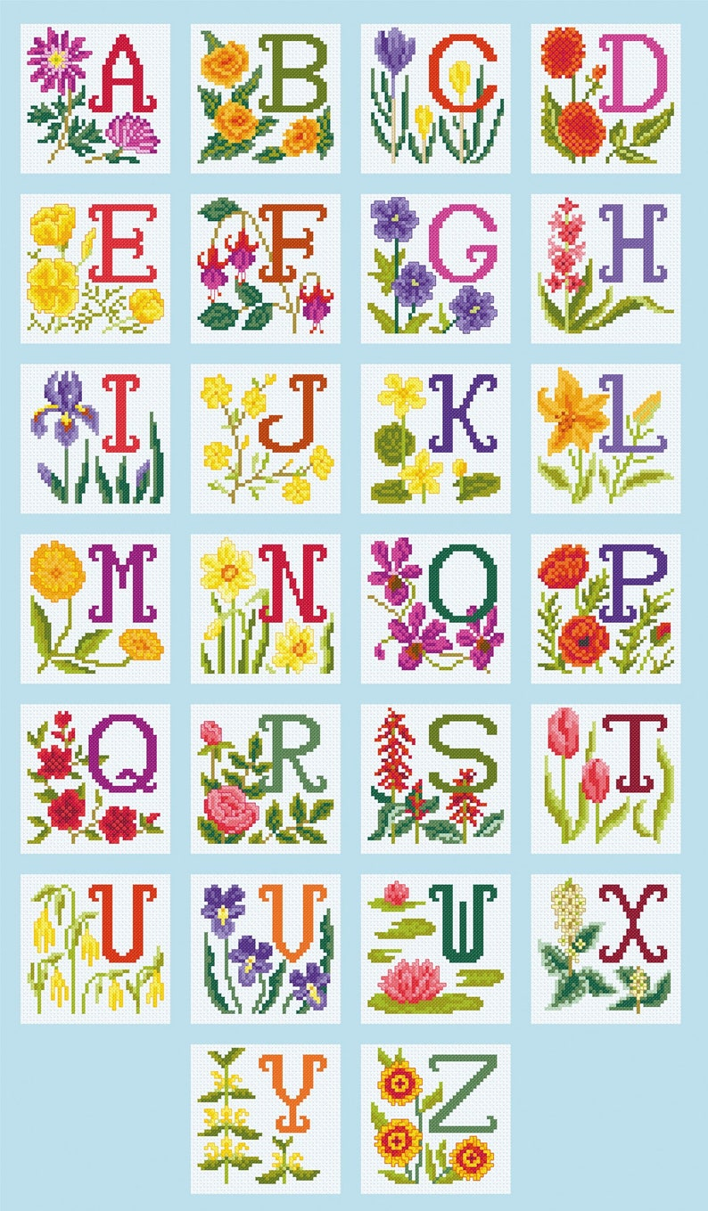 Cross Stitch Designs for Individual Alphabet Letters image 0