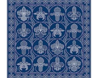 Blackwork Design 'Ornate Orchids'