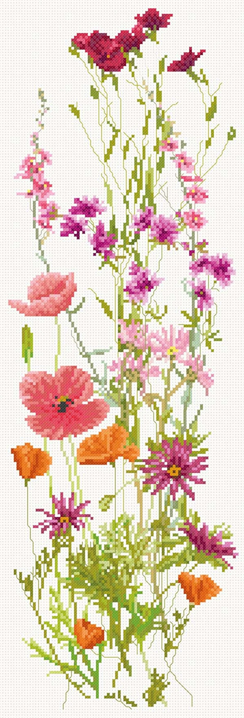 Cross Stitch design of red summer flowers  download image 0