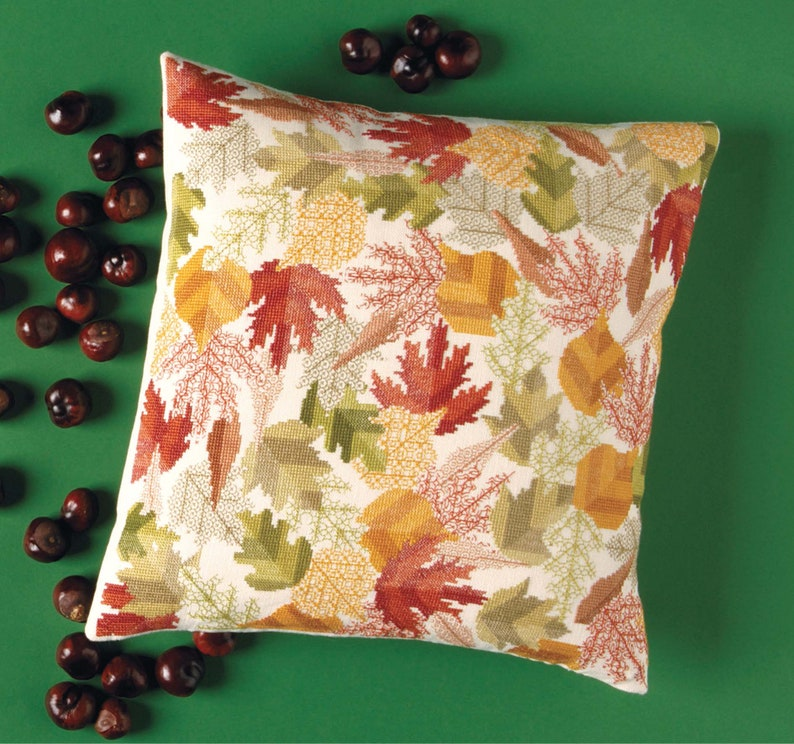 Cross Stitch and Blackwork 'Autumn Leaves Cushion' image 0