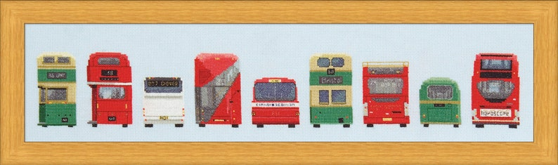 Cross Stitch Design 'Bus Stop'  Backs of Buses. image 0