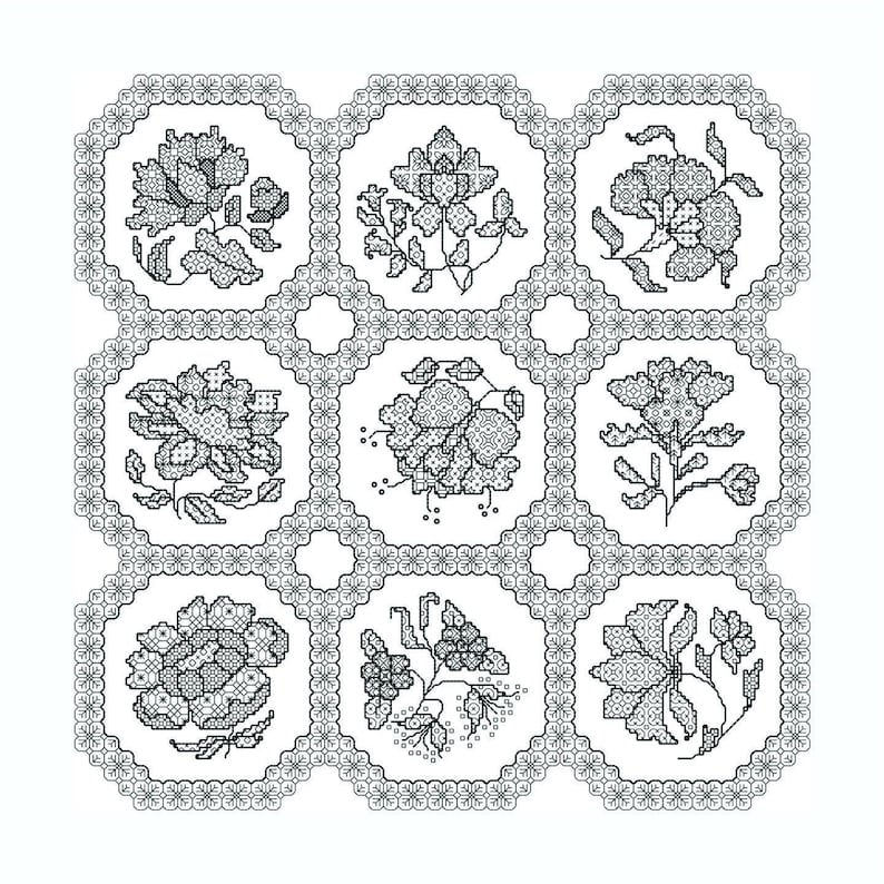 Blackwork Chintz Cushion Chart Download image 0
