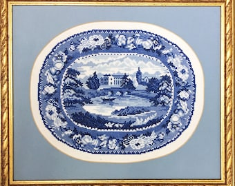 Georgian Porcelain 'British Views' oval embroidery