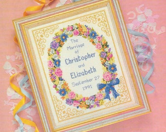 Cross stitch design 'Marriage Sampler'.