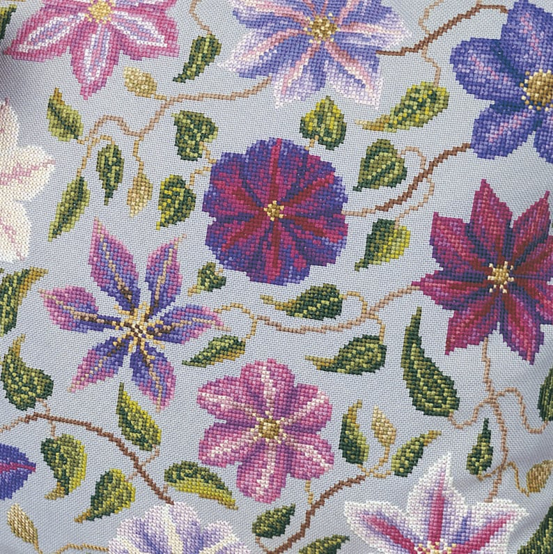 Cross stitch Clematis cushion image 0