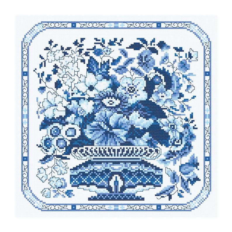 Cross Stitch Design 'Blue and White Vase of Flowers' image 0