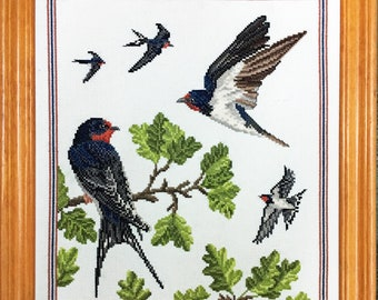Swallows of Summer completed embroidery picture
