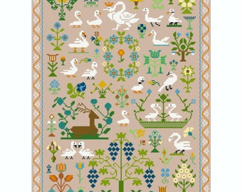 Cross Stitch Kit Swans and Flowers Sampler