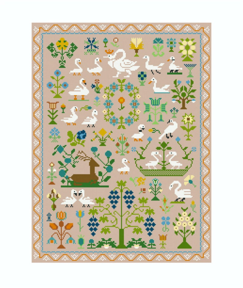 Cross Stitch Kit Swans and Flowers Sampler image 0