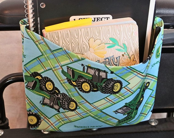Tractors Single Pocket Armrest Bag for Wheelchair - Optional Closure Styles Available