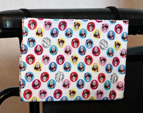 Waldo Single Pocket Armrest Bag for Wheelchair - Optional Closure Styles Available
