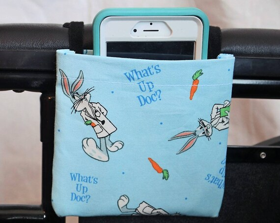 Bugs Bunny Armrest Hanging Cell Phone Holder for a Wheelchair, Walker, or other Mobility Device