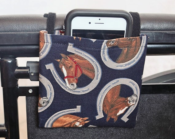 Horses and Horseshoes Armrest Hanging Cell Phone Holder for a Wheelchair, Walker or other Mobility Aides
