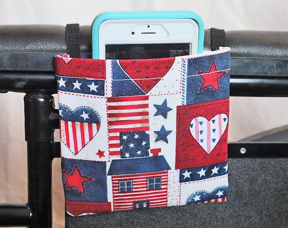 Patriotic Hearts and Homes Armrest Hanging Cell Phone Holder for a Wheelchair, Walker or other Mobility Aides
