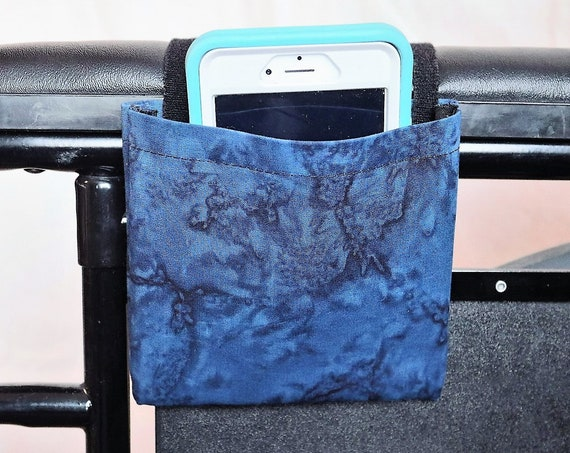 Blue Marble Wheelchair Arm Rest Cell Phone Holder, Wheelchair cellphone pocket, Wheelchair arm rest cell phone pouch, Wheelchair XS Pouch
