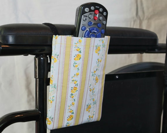 Yellow Flowers Armrest Hanging Cell Phone Holder for a Wheelchair Hanging Remote Control Holder
