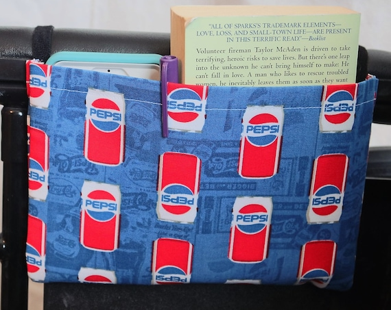 Pepsi Themed Single Pocket Armrest Bag for Wheelchair - Optional Closures Styles Available