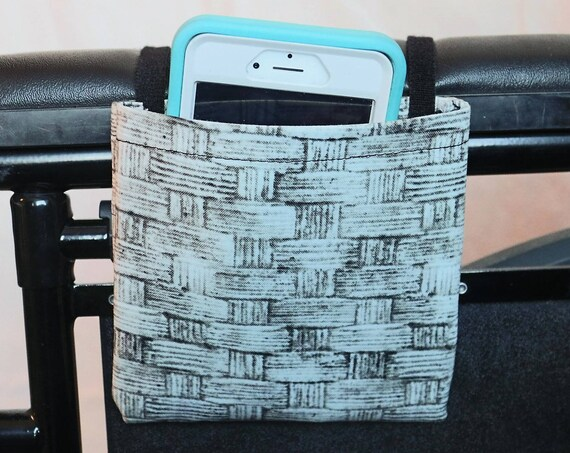 Woven Pattern Armrest Hanging Cell Phone Holder for a Wheelchair, Walker or other Mobility Aides