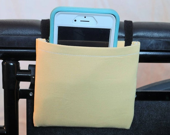 Soft Yellow Solid Color Armrest Hanging Cell Phone Holder for a Wheelchair, Walker or other Mobility Aides