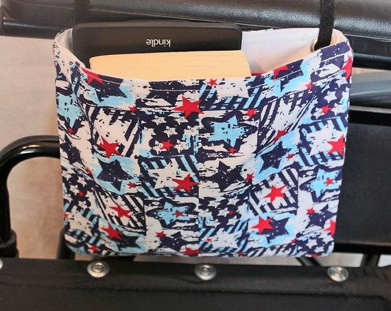Red, White and Blue Stars Single Pocket Armrest Bag for Wheelchair