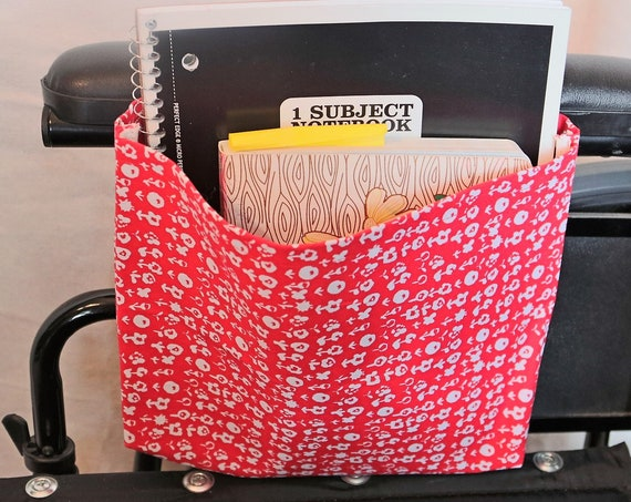 Red with White Flowers Single Pocket Armrest Bag for Wheelchair - Optional Closure Styles Available