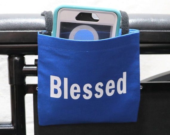 Blessed Blue Fabric Wheelchair Cell Phone Holder